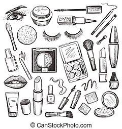 conjunto, belleza, iconos, maquillaje, mano, dibujado