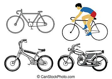 conjunto, bicicleta, blanco, plano de fondo