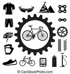 conjunto, bicicleta, iconos
