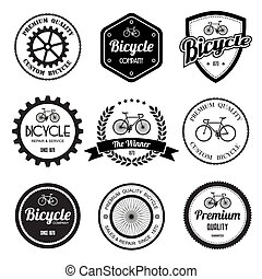 conjunto, bicicleta, vendimia, labels., retro, insignias