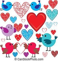 conjunto, birdies, corazones