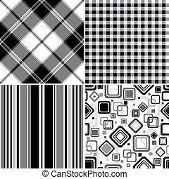 conjunto, black-white, seamless, patrones