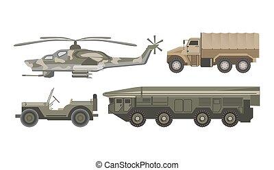 conjunto, blindado, aislado, ilustraciones, militar, cuerpo,...