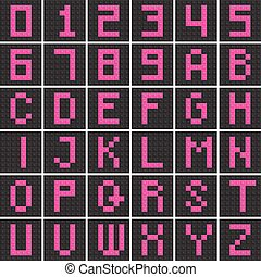 conjunto, bloques, alfabeto, inglés, número, carta, capital, z