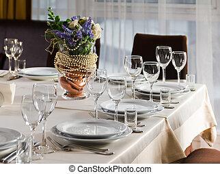 conjunto, boda, o, recepción, tabla, fiesta, acontecimiento