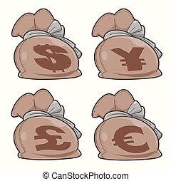 conjunto, bolsas, dinero