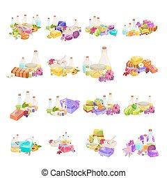 conjunto, botellas, aroma, aceite, orgánico, barra, jabón,...