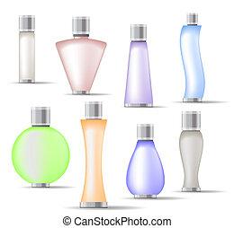 conjunto, botellas, fragancia