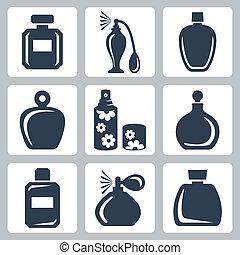 conjunto, botellas, iconos, aislado, perfume, vector