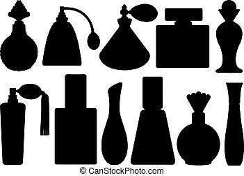 conjunto, botellas, perfume
