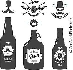 conjunto, botellas, vendimia, cerveza, arte, cervecería, ...