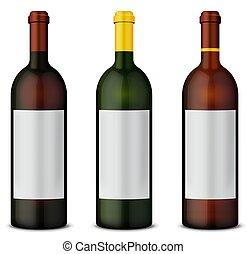 conjunto, botellas, vino