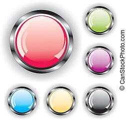 conjunto, botones, brillante