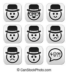conjunto, botones, vector, caras, sombrero, hombre