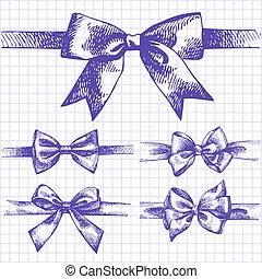 conjunto, bow., mano, ilustraciones, dibujado, cintas
