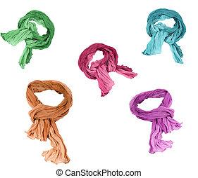 conjunto, bufandas, aislado, plano de fondo, algodón