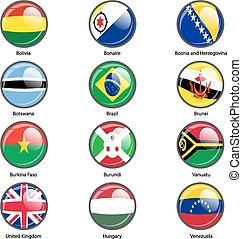 conjunto, círculo, icono, banderas, de, mundo, soberano,...