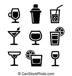 conjunto, cóctel, iconos