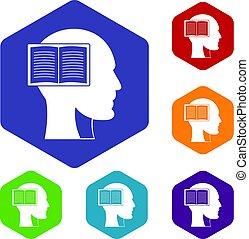 conjunto cabeça, ícones, livro, hexágono, abertos
