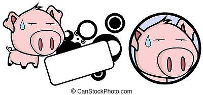 conjunto cabeça, doce, porca, grande, expressão