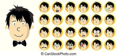 conjunto cabeça, expression., diferente, facial, homem
