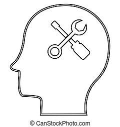 conjunto cabeça, ferramenta, ilustração, macho, ícone