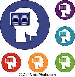 conjunto cabeça, livro aberto, ícones
