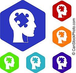 conjunto cabeça, quebra-cabeça, hexágono, ícones