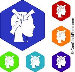 conjunto cabeça, setas, hexágono, ícones