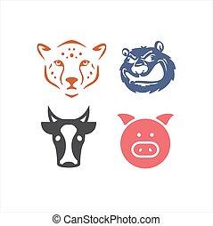 conjunto cabeça, vaca, ilustração, porca, vetorial, tiger, urso, logotipo