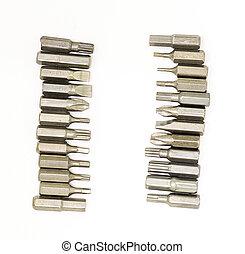 conjunto, cabezas, vertical, carpintería, frontera, marco, ...