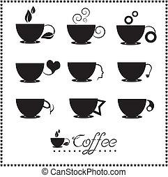 conjunto, café de té, icono de taza