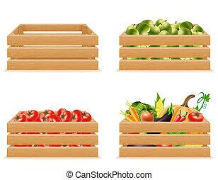 conjunto, caja de madera, con, fresco, y, sano, vegetales, ilustración