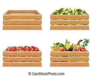 conjunto, caja de madera, con, fresco, y, sano, vegetales, vector, ilustración