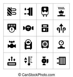 conjunto, calefacción, iconos