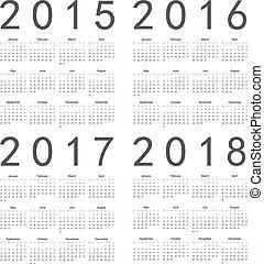 conjunto, calendars., 2017, cuadrado, 2018, año, 2016, 2015...