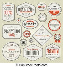 conjunto, calidad, prima, etiquetas