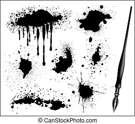 conjunto, calligraphic, pluma, tinta negra, splat