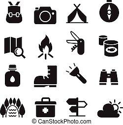 conjunto, campamento, icono