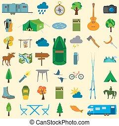 conjunto, campamento, icono, excursionismo, outdoors.