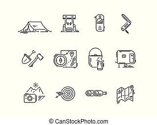 conjunto, camping., excursionismo, iconos, turismo, línea
