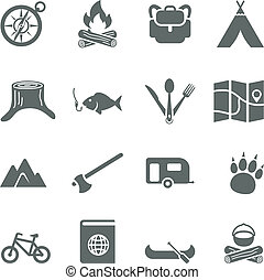 conjunto, camping., iconos, viaje, vector, turismo