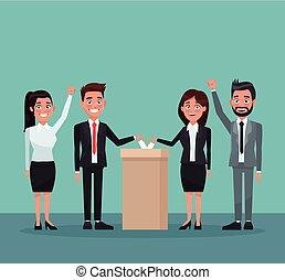 conjunto, candidato, gente, urna, escena, plano de fondo, traje, voto, formal