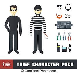 conjunto, carácter, ladrón