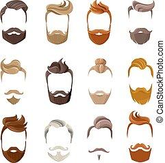 conjunto, cara, barba, peinados