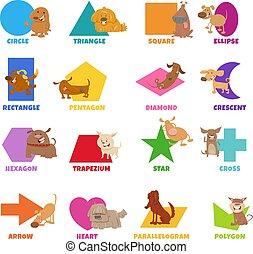 conjunto, caracteres, geométrico, perros, formas, divertido