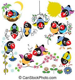 conjunto, caricatura, aves