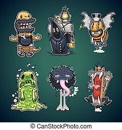 conjunto, caricatura, caracteres