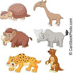 conjunto, caricatura, colección, animal