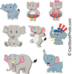conjunto, caricatura, colección, elefantes
